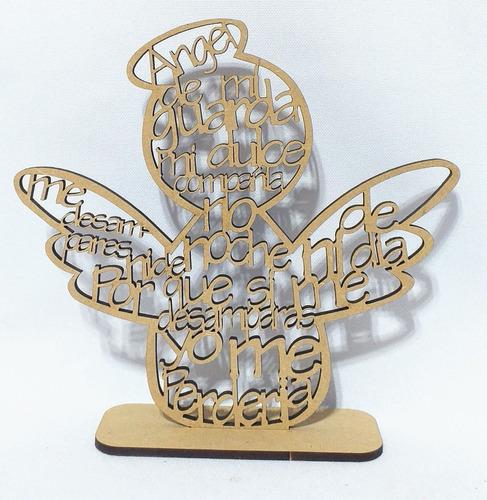Imagen 1 de 10 de Souvenir Angel De La Guarda 20cm - Mdf / Fibrofacil