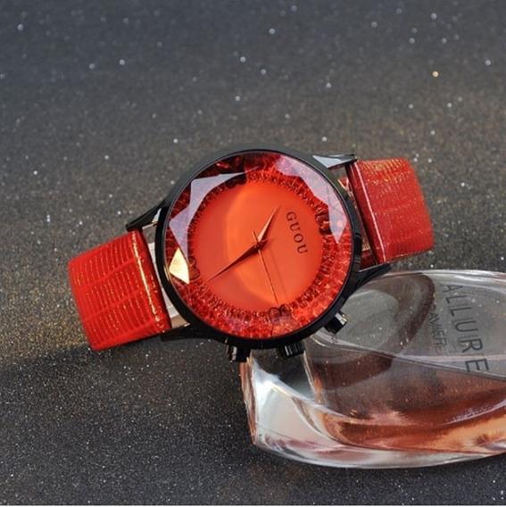 Relógio Feminino De Pulso Guou 8107 Original Promoção Quartz