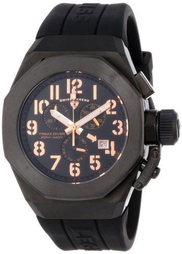 Reloj Swiss Leyend Para Hombre, Cronógrafo, Buceo, Negro