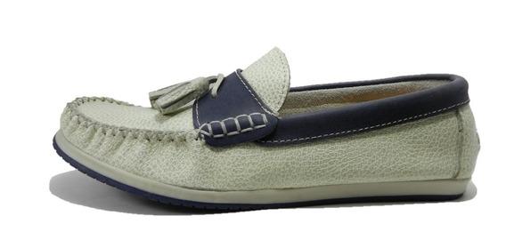 Zapato Mocasin Morris Cuero Blanco/azul 1046