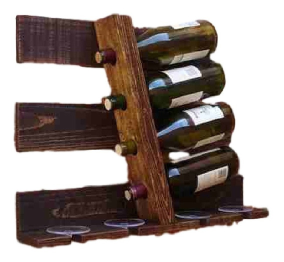 Prateleira Barzinho De Vinhos Adega Inclinada E Porta Taças