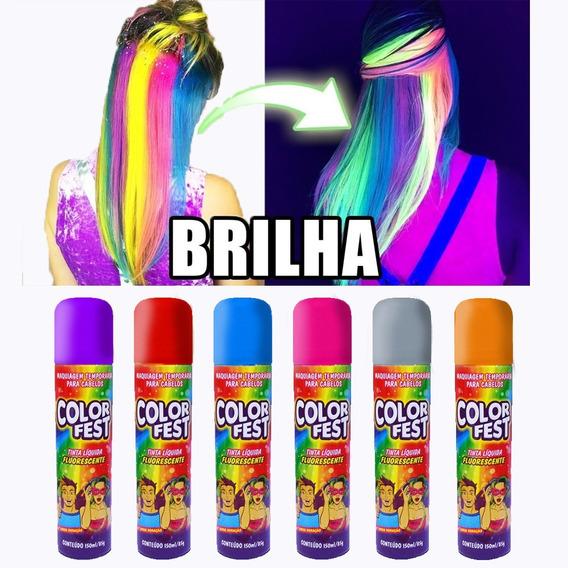 Spray De Tinta Fluorescente Para Cabelo 2 Uni