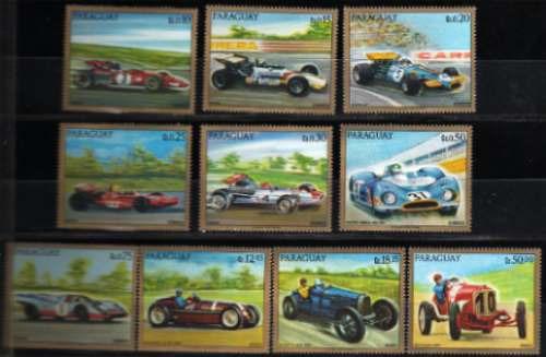 Serie De 10 Estampillas Autos Formula 1 De Paraguay Ferrari