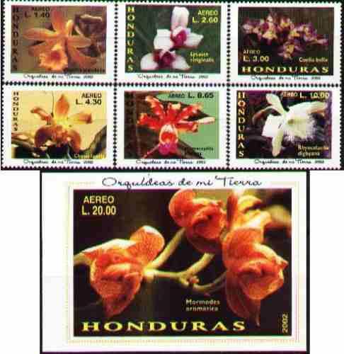 Honduras 2002 - Orquideas - 6 Estampillas + 1 Hojita Bloque