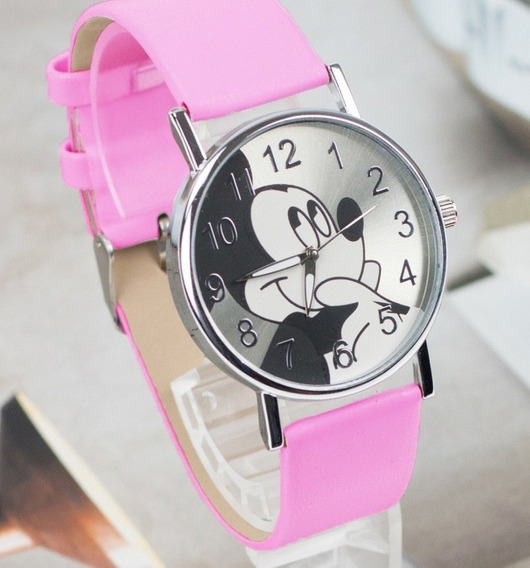 Relógio Mickey Feminino Pulseira Couro Rosa Rg004f