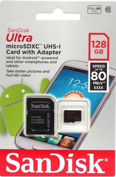 Cartão Micro Sd 128gb Sandisk Classe10 80mb/s Original