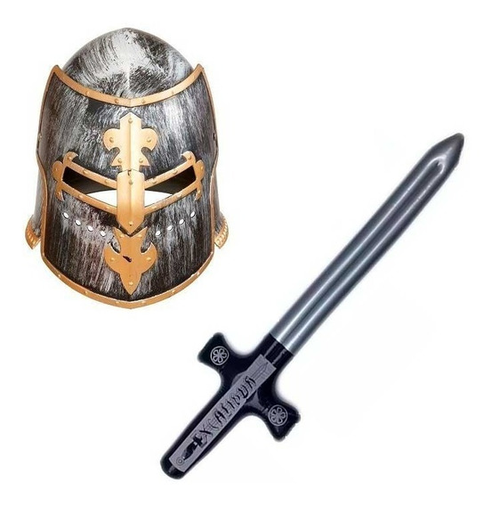 Disfraz Medieval Hombre Casco Espada Halloween Fiesta