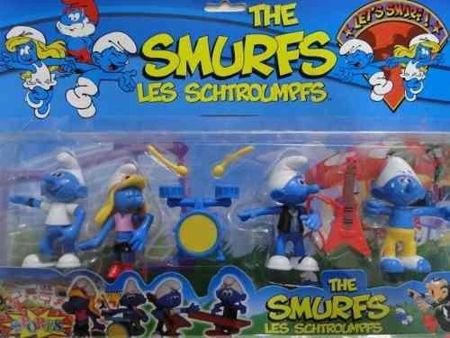 Kit 4 Personagens Smurfs Schleich L Papai Smurfs Soneca