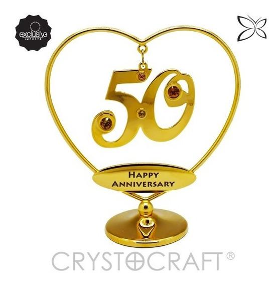 Símbolo De 50 Anos Em Ouro 24k Cristais Swarovski