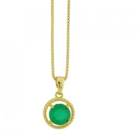 Colar Banhado Ouro 18k Esmeralda Circular Dourado Sku 10489