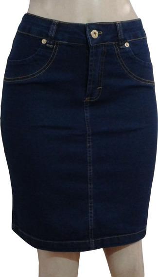 Saia Jeans Secretária Cos Alto Com Lycra 36 Ao 44