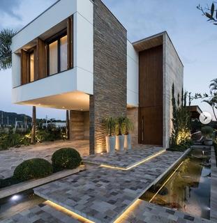 Fachada Casas Modernas Revestimiento Pared Piedra San Juan