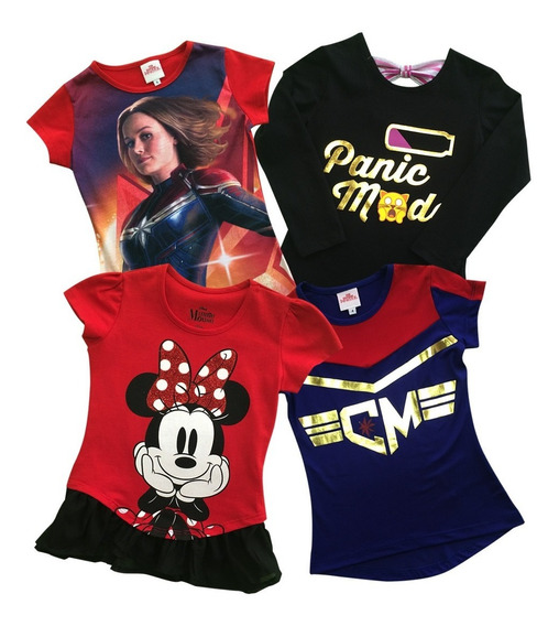 Blusas Capitana Marvel Y Minnie De Disney Para Niña 4-pack