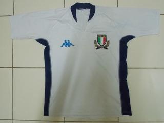 Camisa Itália Rugby Kappa Branca Tamanho G