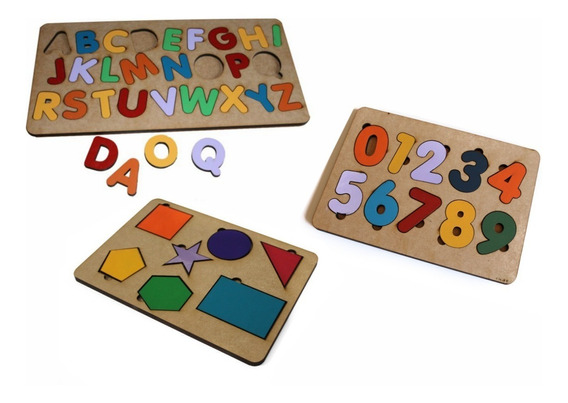 3 Tabuleiros Encaixe Alfabeto Número Formas Geometricas