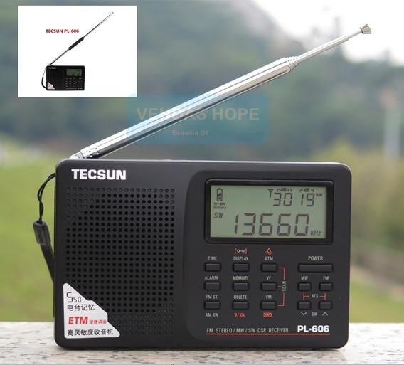 Radio Tecsun Pl-606 Lacrado + Antena Conector E + Antena Com Fio Externa ((envio Rapido))