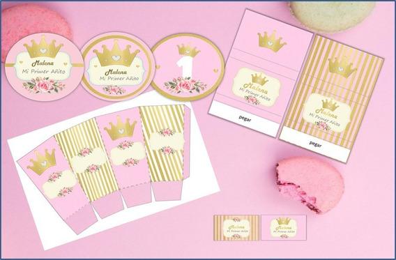 Kit Imprimible Candy Completo Corona Dorada Nena