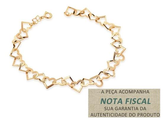 Pulseira Corações Liso Folheado Ouro Rommanel 550709