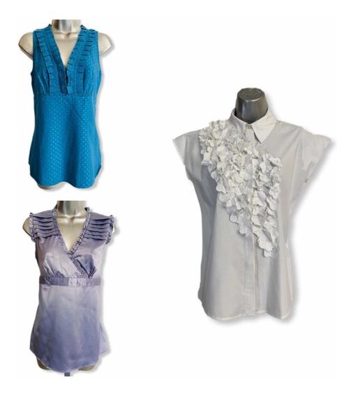 Blusa Azul Turquesa/ Lila Seda / Blanca Con Flores Relieve S