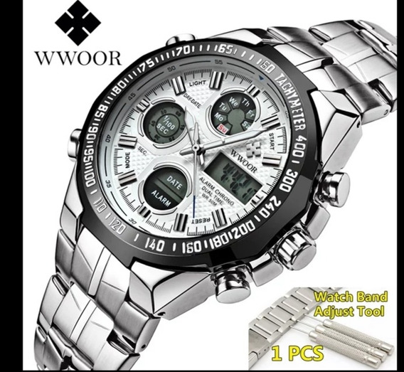 Relógio Masculino Wwoor Luxo ,inox Prova D Água.
