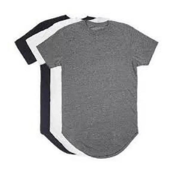 Kit C/3 Un Camisas Blusas Masculinas Longline Plus Size