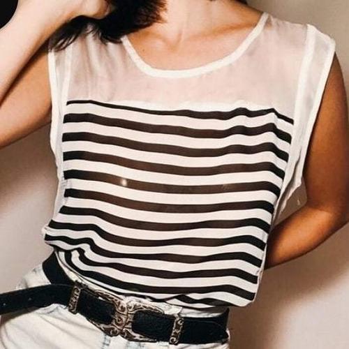 Musculosa Rayada De Gasa Blanca Y Negra Talle S