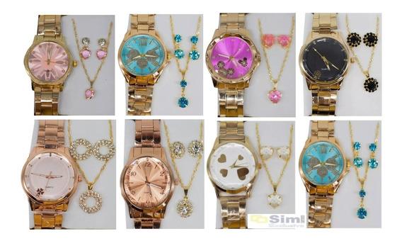 Kit Com 10 Relógios Feminino Atacado + Joias Foliado + Caixa