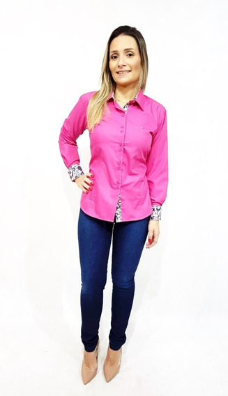 Camisa Social Feminina Slim Fit Do 36 Ao 48