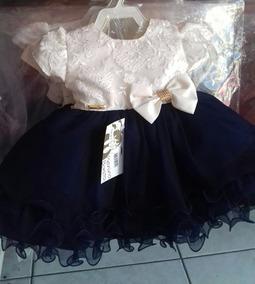 Vestido Bebê Luxo Bege Azul Marinho + Faixa +sapato