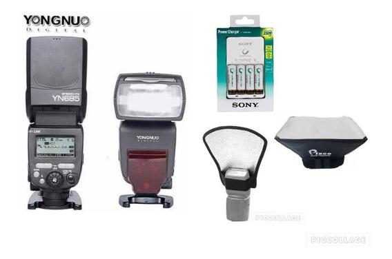 Flash Yongnuo Yn 685 N P/nikon+rebatedor+difusor+carregador