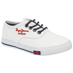 Tenis Casual Pepe Jeans Sully Niños Textil Blanco 10256 Dtt