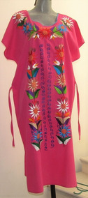 Nuevo!!! Vestido Bordado Rosa Talla Xl Tipo Artesanal