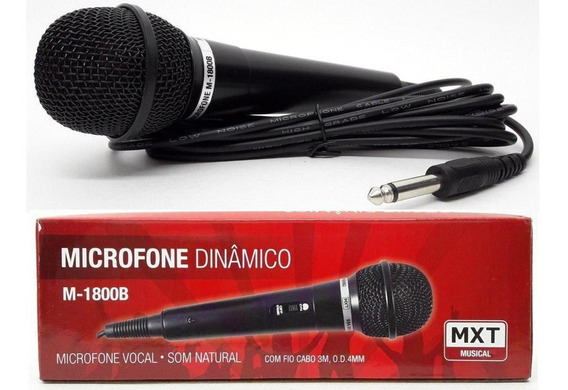 Microfone Mxt Dinâmico Com Fio 3m Preto M1800b