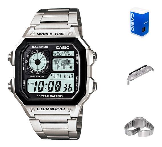 Reloj Casio Ae1200 Metal Mapa Mundial Full