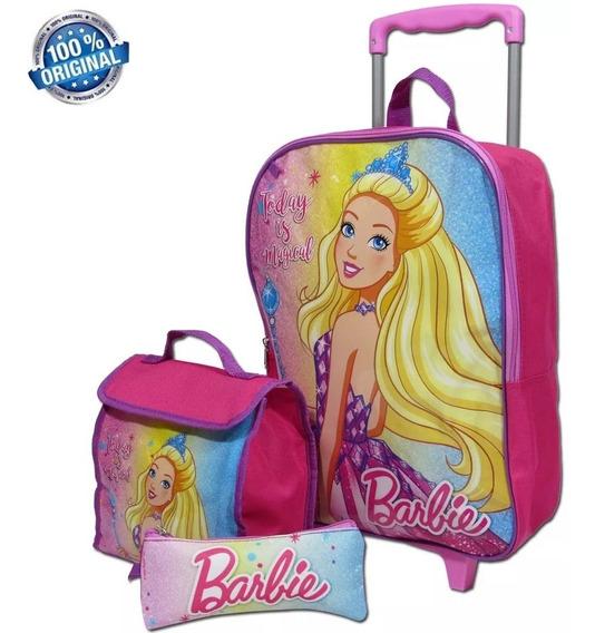 Kit Escolar Mochila Tam G Barbie Original Sestini