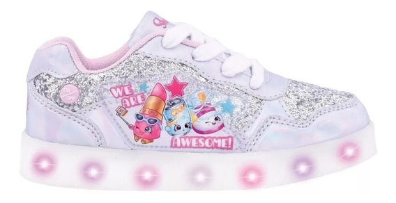 Zapatillas Footy Shopkins Plateadas Luces Led Fty Calzados