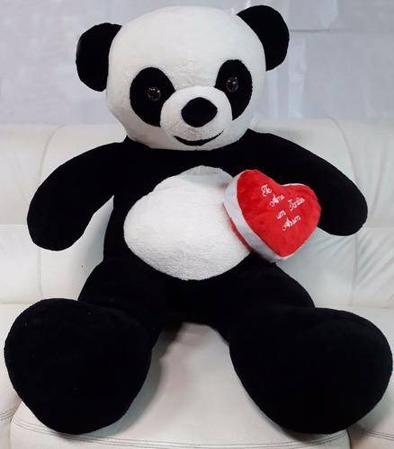 Imagem 1 de 7 de Urso Panda Grande Pelúcia Gigante 120cm + Coração Amor Love