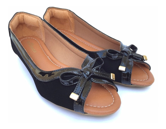Peep Toe Sapatilha Feminina Sandália Calçados Femininos