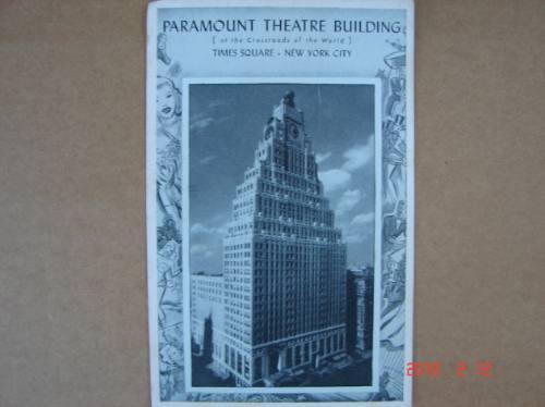 New York 1939. Edificio Teatro Paramount, Antigua Postal.