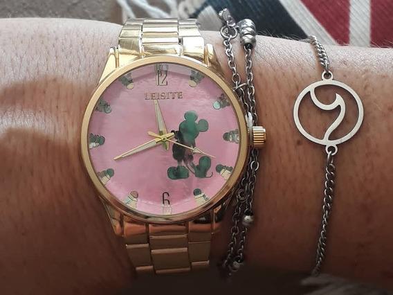 Relógio Mickey Dourado Orlando Minnie