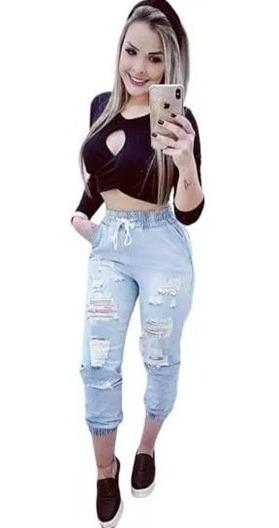 Calça Feminina Jogger Jeans Destroyed Cintura Alta