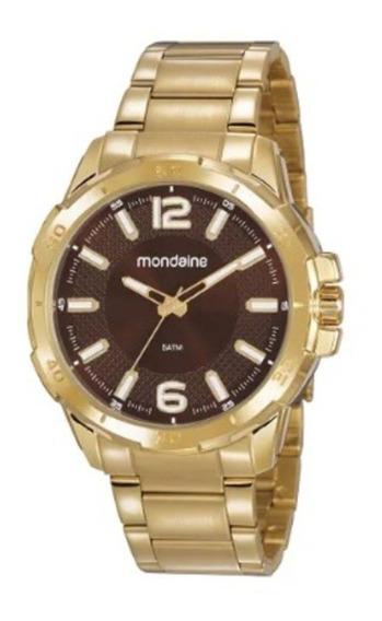 Relógio Mondaine Masc Dourado Fundo Marrom, 53791gpmvde1