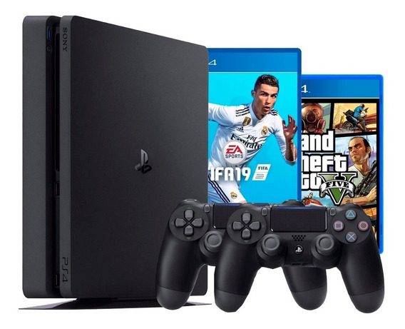 Playstation 4 Ps4 Slim 500 Gb 2 Controles + Fifa + Gta V