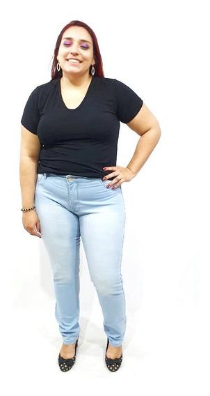 Calça Jeans Feminina Plus Size Skinny Com Lycra Até O 62