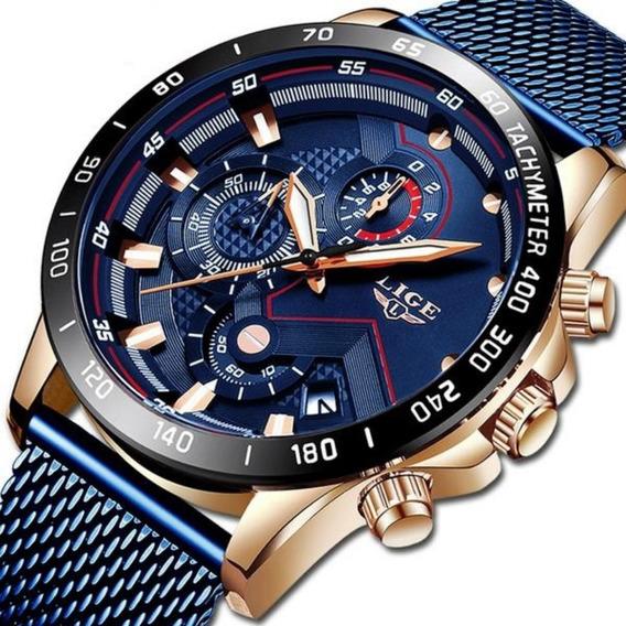 Frete Grátis Relógio Original Lige 9929 Luxo Masculino C/ Cronógrafo Funcional E Calendário Automático Pronta Entrega