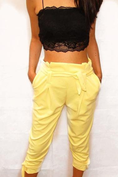 Calça Pantacourt Amarrada Moda Folgadinha Cintura Alta