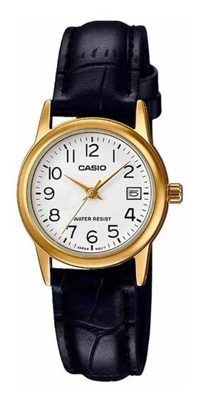 Relógio Casio Feminino Ltp-v002gl 7b2u Dourado Couro Preto