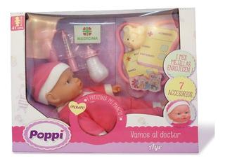 Muñeca Bebe Poppi Vamos Al Doctor 41cm Con Accesorios Pc