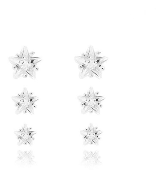3 Brinco Estrela Prata 925 Trio Feminino Pequeno