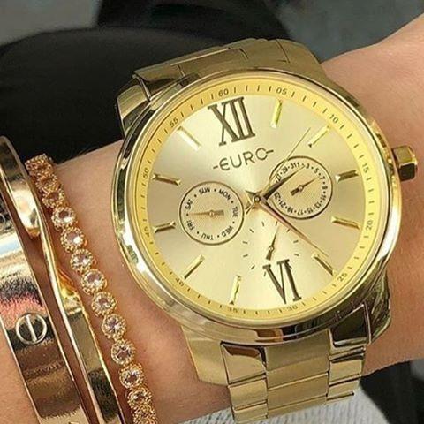 Relógio Euro Multi-funcional Dourado